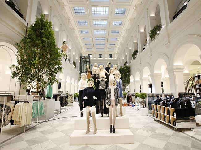 Inside a fashion retail store