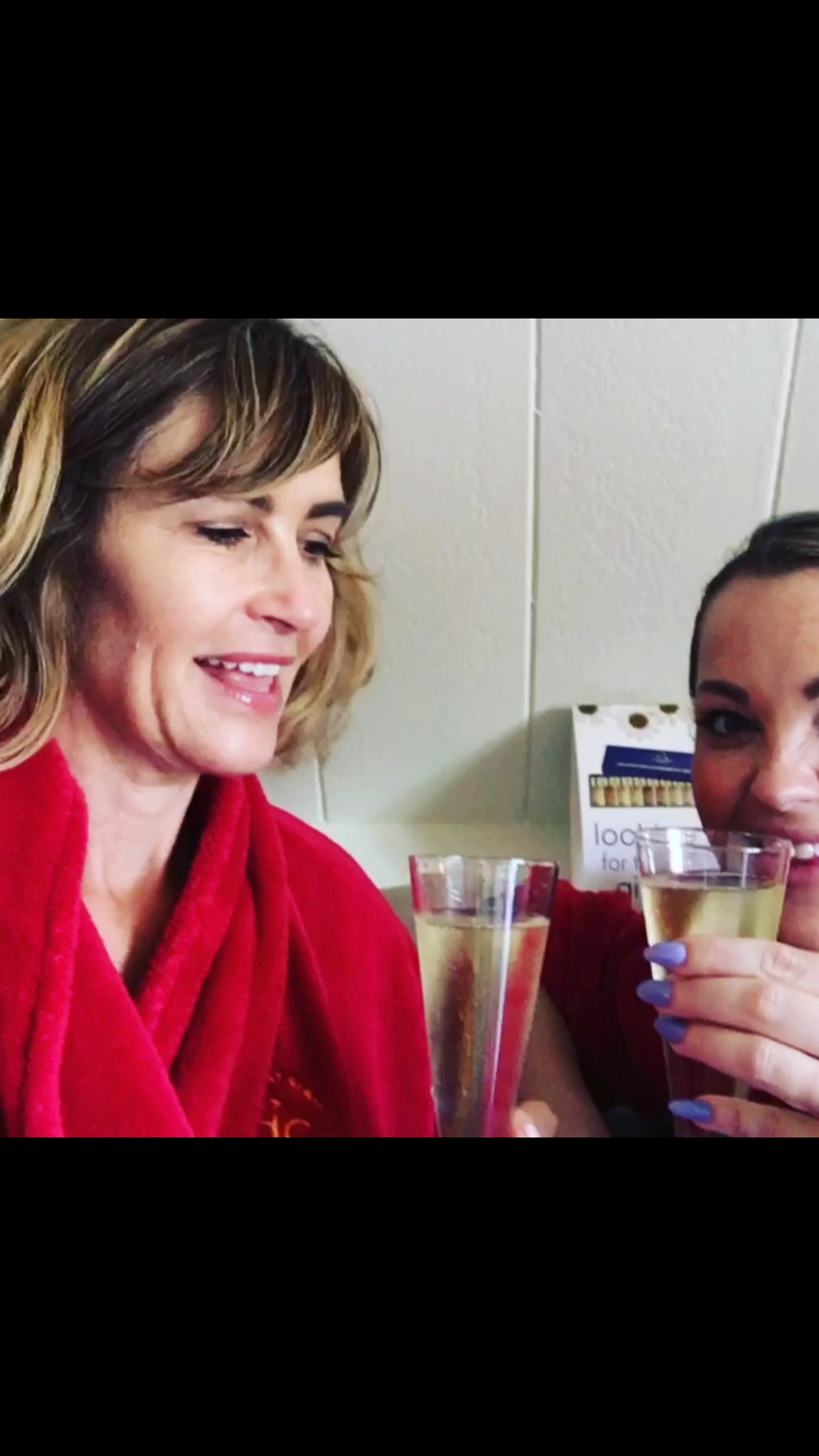 Two woman do a cheers with wine