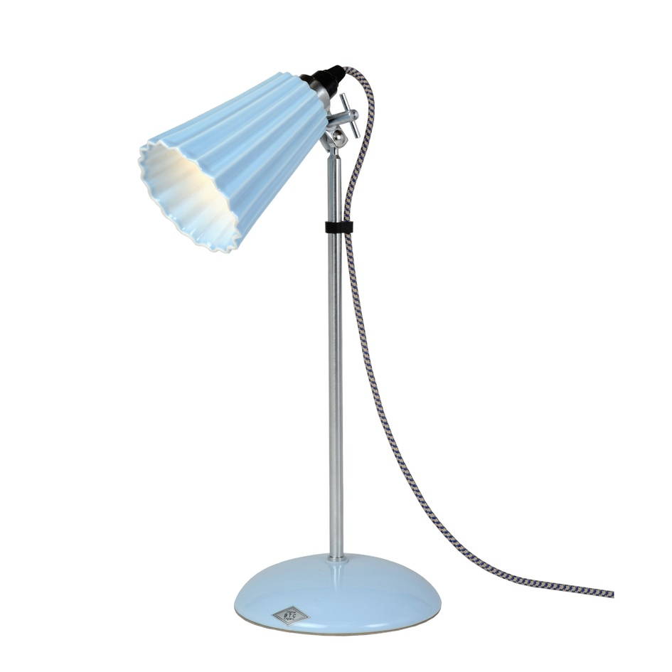 blue Hector Pleat table lamp, from Ecc