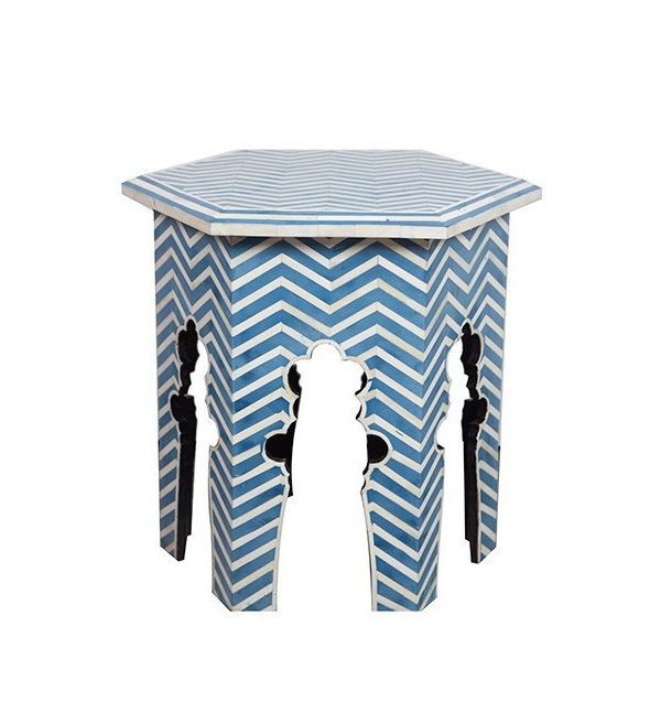 blue bone Inlay side table, from Republic