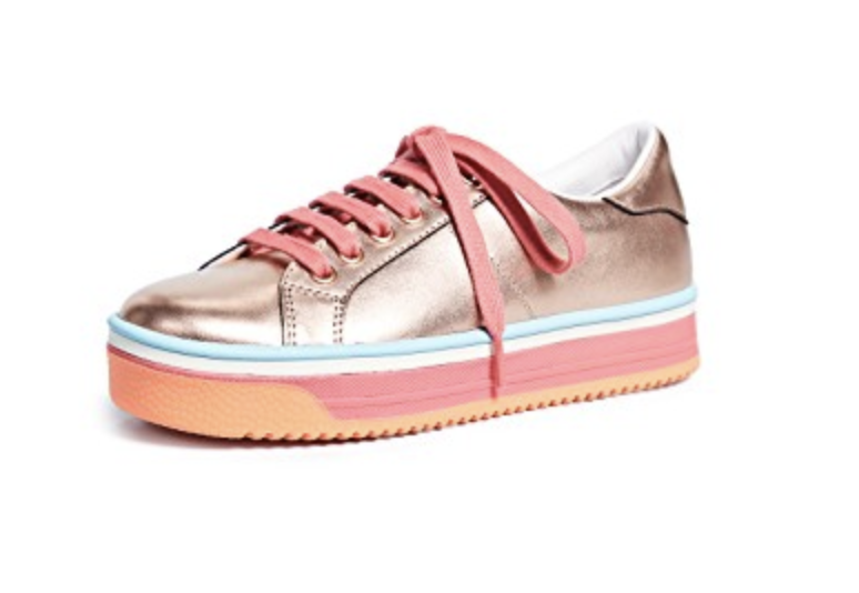 Marc Jacobs bronze and pink Empire sneakers, $320