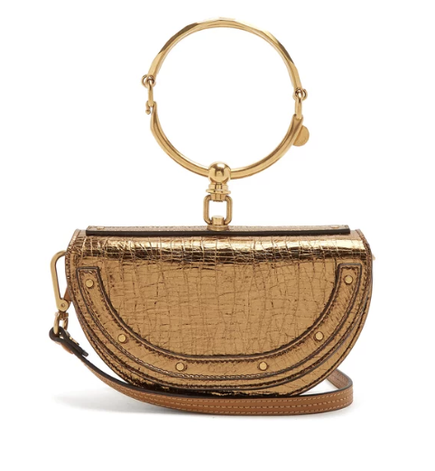 Chloé Nile Minaudière small leather clutch in tan