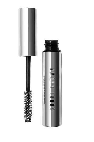 Bobbi Brown No Smudge Mascara in silver bottle with lid open placed next to bottle