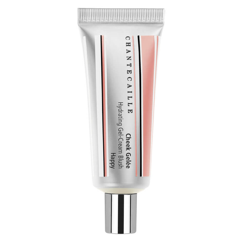 Silver and pink Chantecaille blush bottle standing on its lid