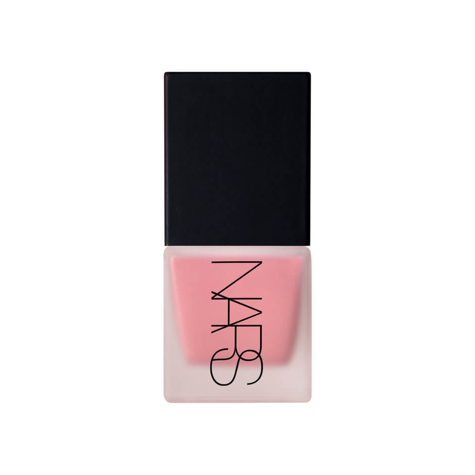 Clear NARS bottle with black lid holding pink blush inside