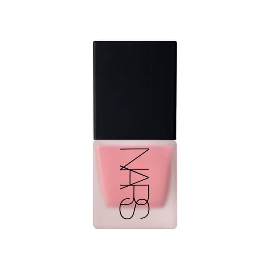 Clear NARS bottle with black lid holding pink blush inside