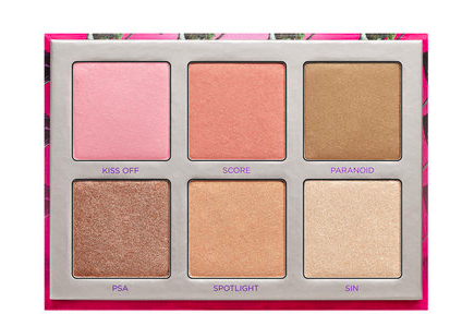 Urban Decay Highlighter Palette with six shades of highlighter tones