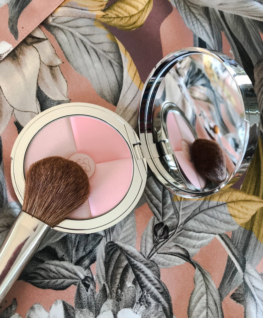 The tip of a makeup brush resting on an open blush case that holds several shades of pink sitting on a leafy grey and peach coloured background