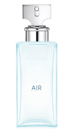 Light blue transparent bottle with silver spray cap with Eternity Air Calvin Klein