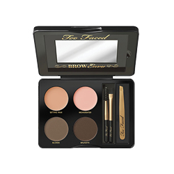 TOO FACED  Brow Envy Kit opened up with mirror, 4 shades of highlighter tones and makeup tools