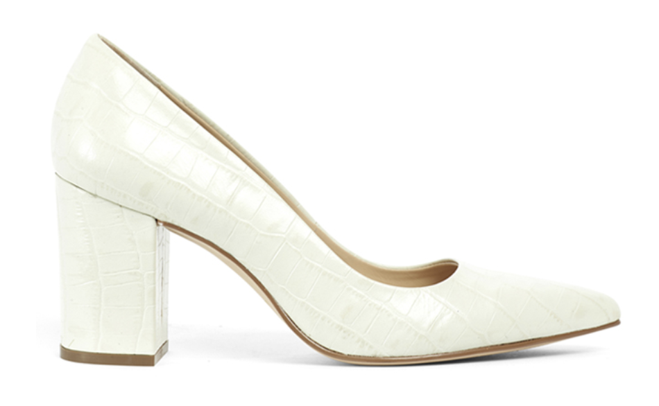Kathryn Wilson Suzy Q heel white white close toed heels with a brown sole