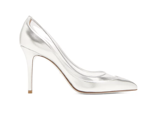 Valentino Glassglow leather and plexiglass close toed silver stilleto