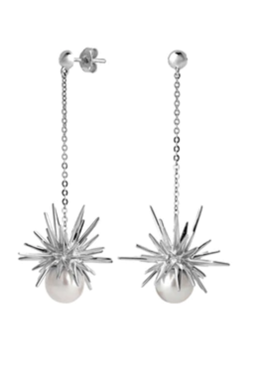 Karen walker forbidden drop earrings - beads going down to a silver creative star with a silver ball connected at the bottom