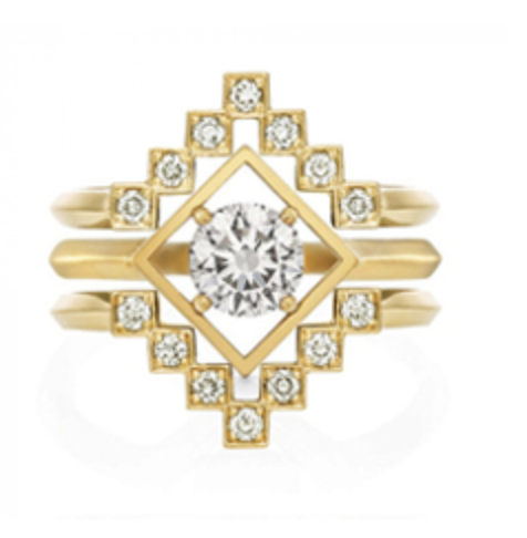 Zoe & morgan complete set Freya and Harmonia round brilliant solitaire diamond in yellow gold wrapped by 2 rings with multiple smaller diamonds