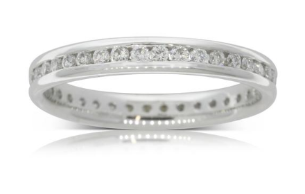 Walker & Hall 18ct white hold .50ct diamond eternity ring white gold band with diamonds all over the band