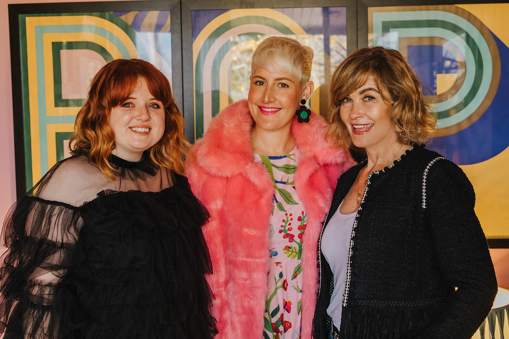 Evie Kemp and the BeautyEQ style director Louise Hilsz with editor Trudi Brewer