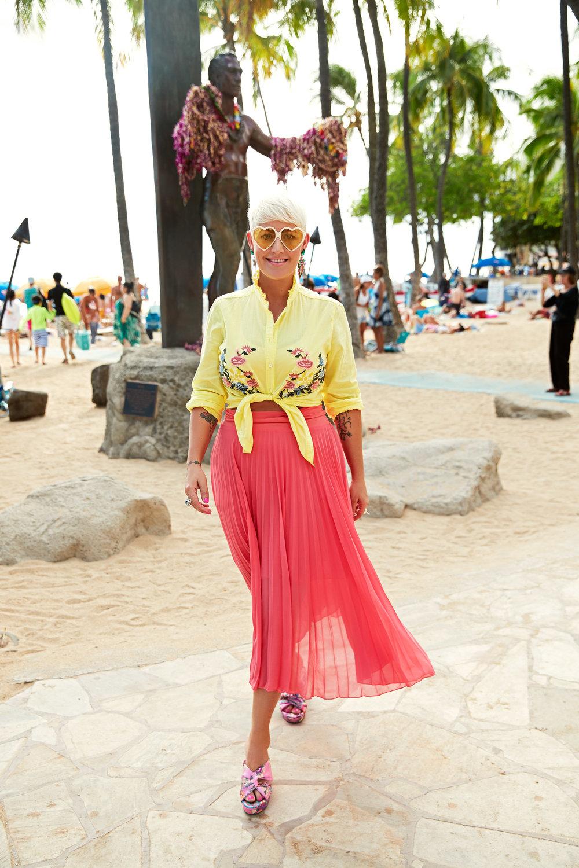 Louise Hilsz at Waikiki beach, Hawaii.