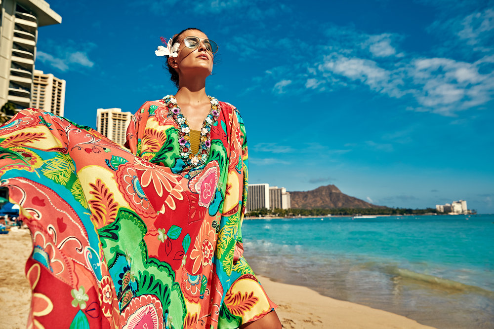 Model wears Trelise Cooper and    Gucci    sunglasses on Waikiki Beach, Honolulu.