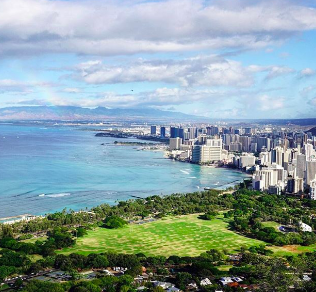 The view from Diamond Head looking over Waikiki Beach