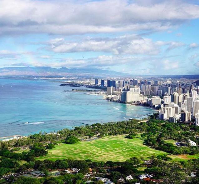 The view from Diamond Head looking over Waikiki Beach