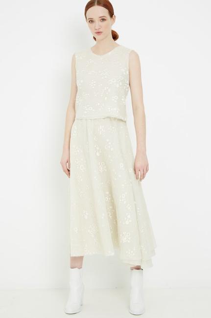 Zambesi    Tole  top $395, and  Ballet  skirt, $845.