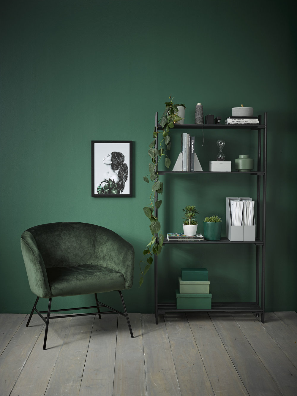 Walls in Resene Mother Nature. Floorboards in Resene Colorwood Greywash. Desk top, bookshelf and large planter in Resene Noir. Chair and vase in Resene Peace. Pen pot, book ends, round box and plant pot in Resene Silver Chalice. Boxes on shelf in Resene Permanent Green (big), Resene Rivergum (medium) and Resene Family Tree (small).