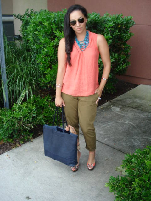 cd61be407dfff6 J.Crew twill pants, Vera Wang for Kohl's blouse, bebe wedges, Banana  Republic leather tote bag (I tied a Salvatore Ferragamo scarf to it)