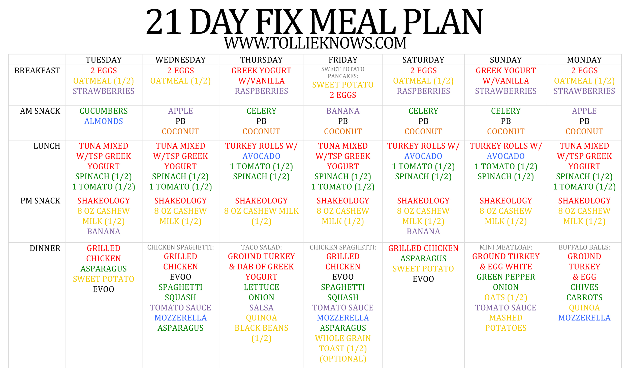 21 Day Fix Meal Plan Tollie Knows – Meal Calendar