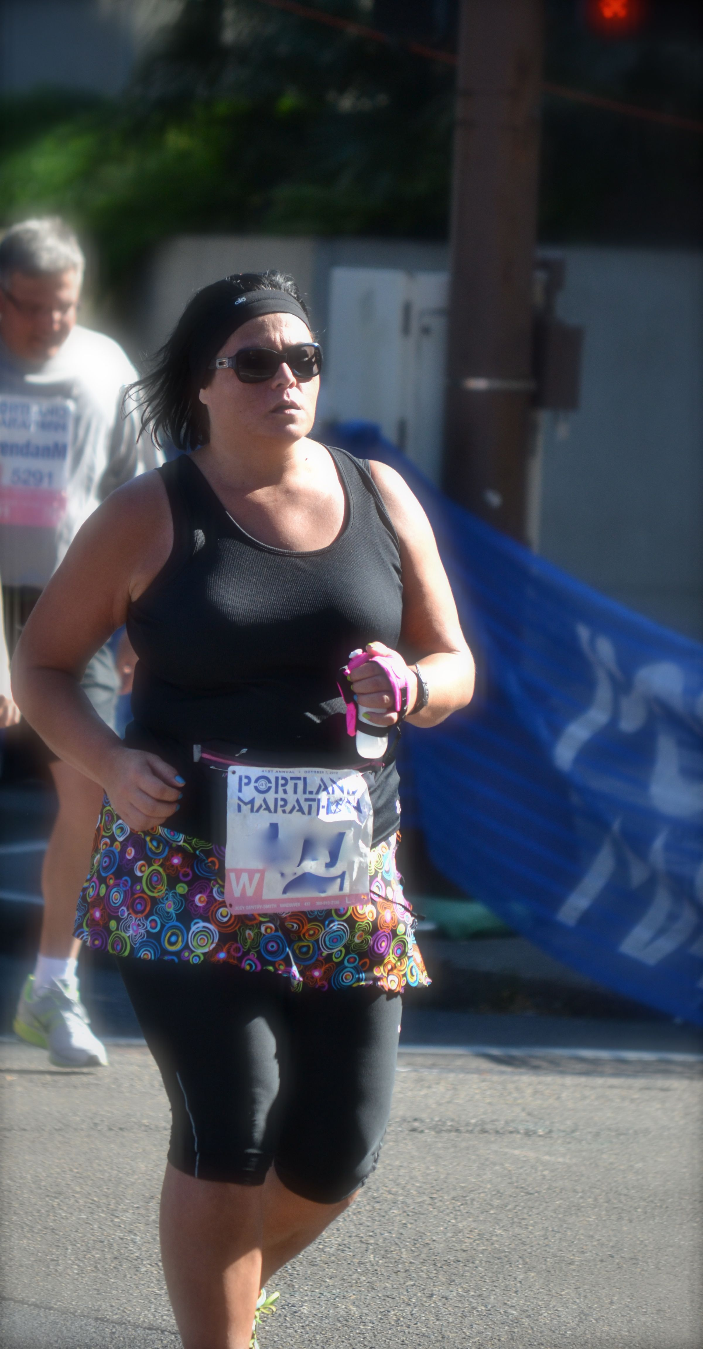 Here I am, wearing my Sweet Spot Skirt at the Portland Marathon last fall.  26 miles down, just that last .02 to go!