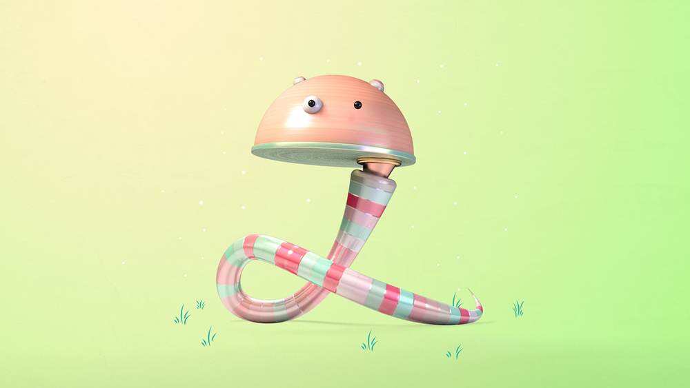 2  - A yoga instructor earthworm whose body is made of candy