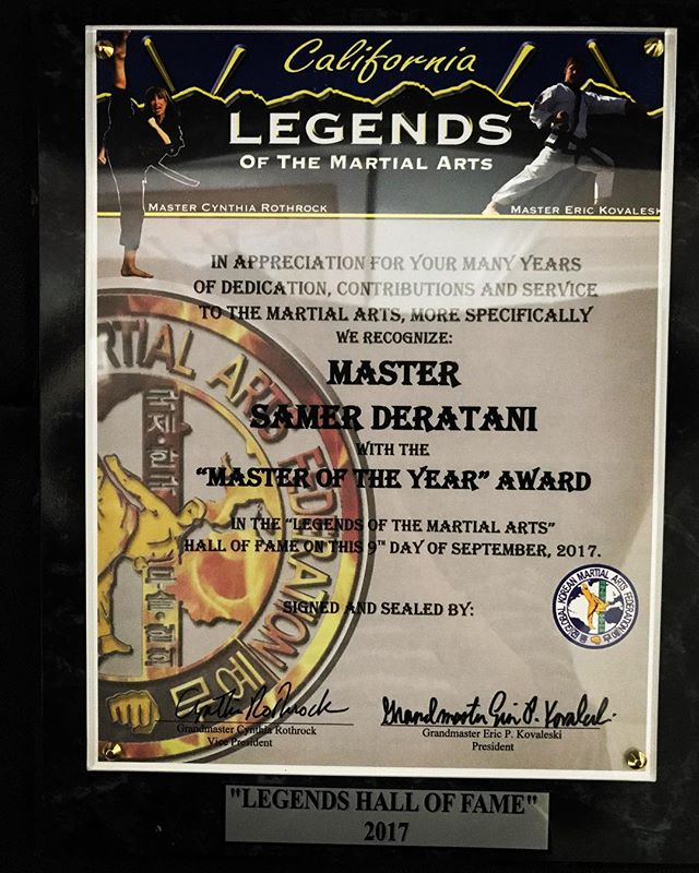 Congratulations to our head master, Master Sam, on receiving the award of Master of the Year! 👊🏽 | #legendsofmartialarts #flyingkick #masteroftheyear #martialarts #taekwondo #tkd #mma #blackbelt #halloffame