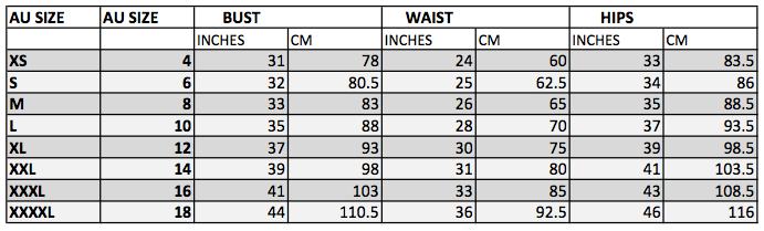 SIZING CHART FOR TOPS