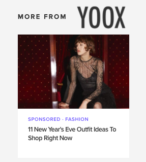 YOOX Shop Your New Year's Eve Outfit - A campaign for YOOX that allows audience to shop on-trend looks for New Year's Eve. Targeted audience is the affluent millennial who enjoys luxury and aspires to live well.