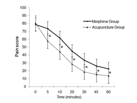 A graph from the study showing the pain-decreasing differences between morphine and acupuncture