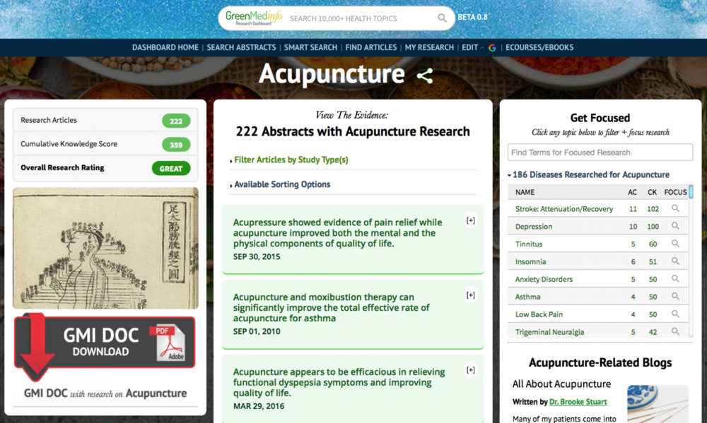 Click to access the  Acupuncture Database  on GreenMedInfo.com
