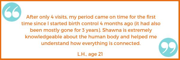 period testimonial L.H. Shawna Seth, L.Ac. acupuncture San Francisco