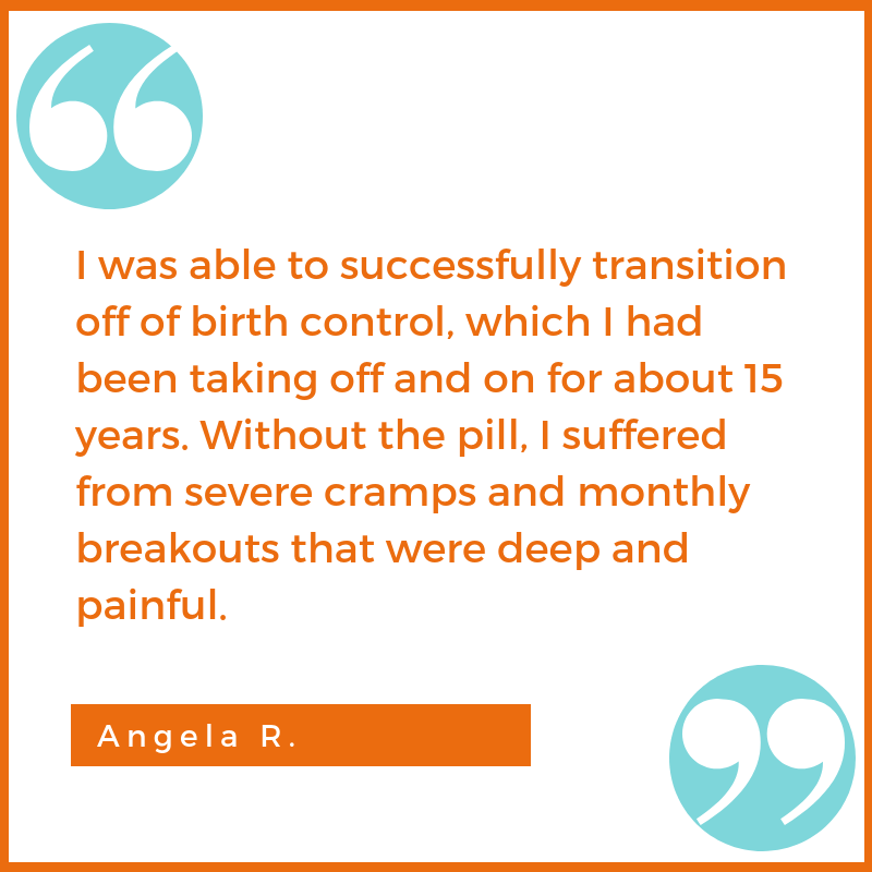 birth control testimonial Angela R. Shawna Seth, L.Ac. acupuncture San Francisco