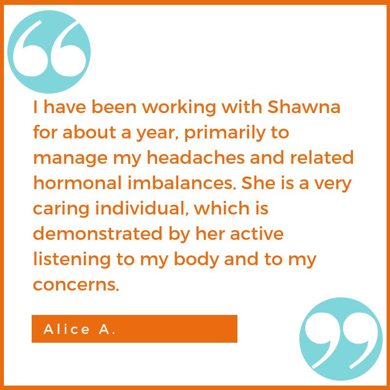 migraine testimonial Alice A. Shawna Seth, L.Ac. acupuncture San Francisco