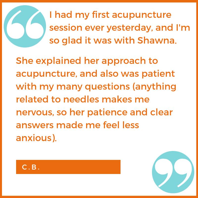 new patient testimonial C.B. Shawna Seth, L.Ac. acupuncture San Francisco Oakland