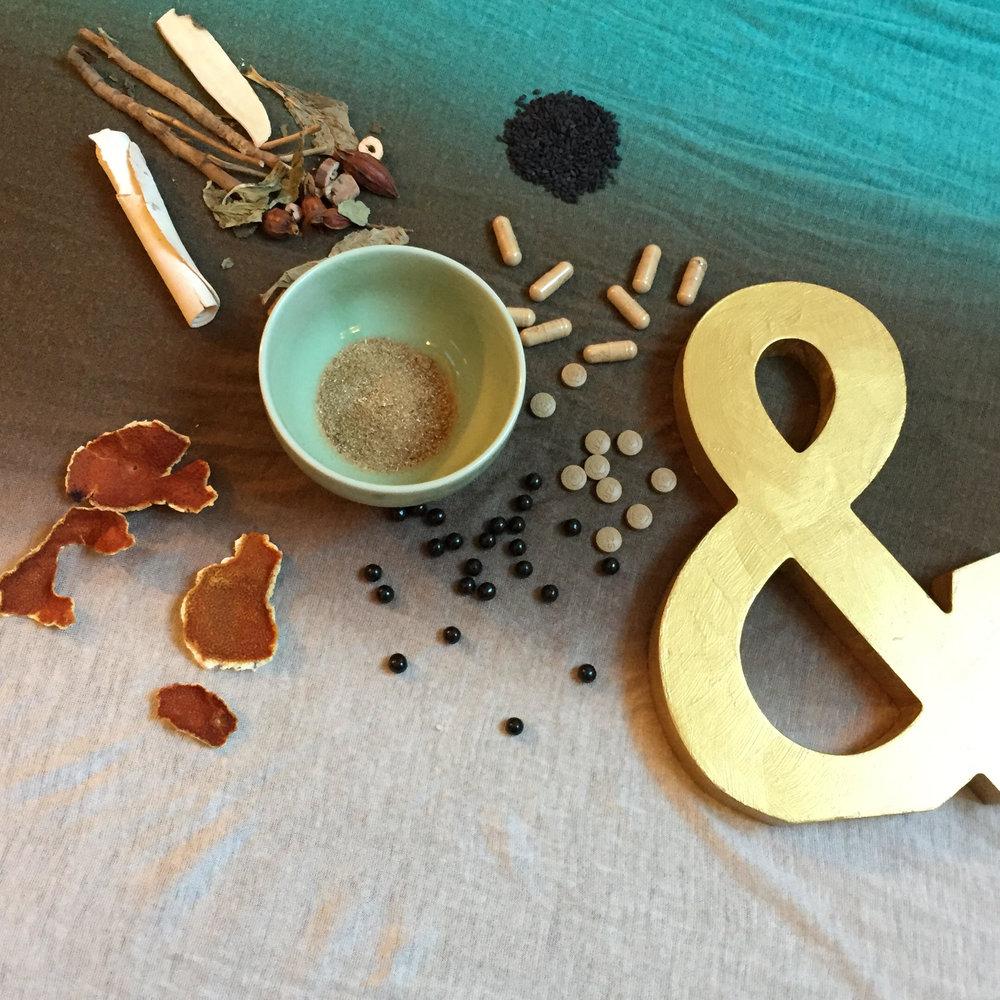 A variety of herbal medicines, including foods like orange peel and black sesame, powdered formulas, and tablet/pill formulas