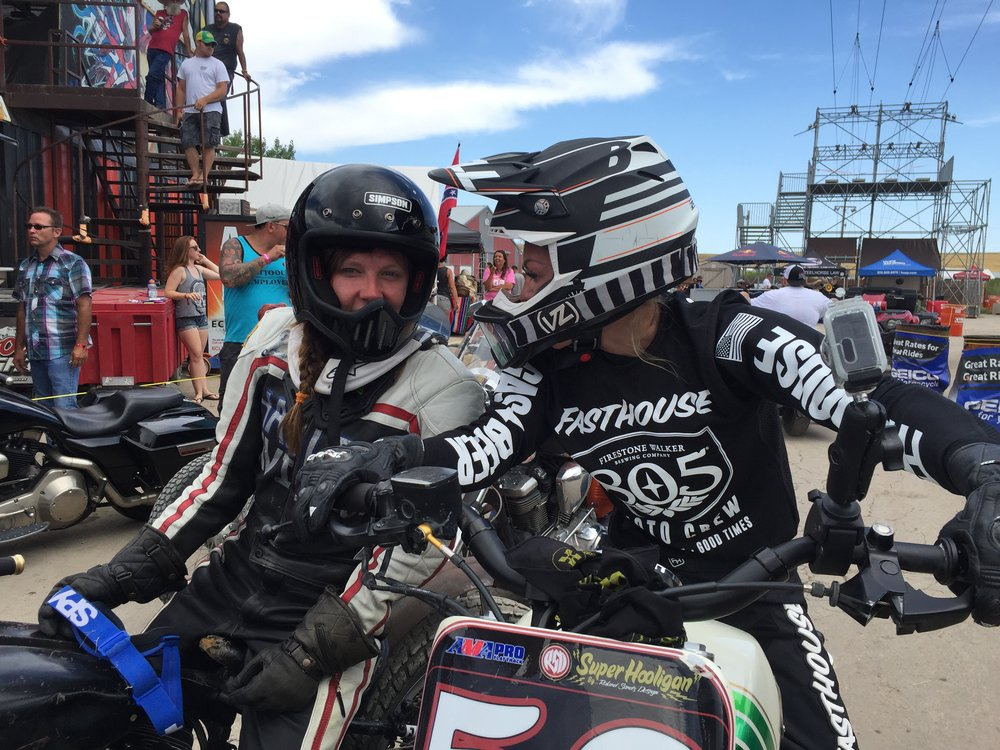 Leticia Cline and Britney Olsen from 20th Century Racing at Sturgis Buffalo Chip