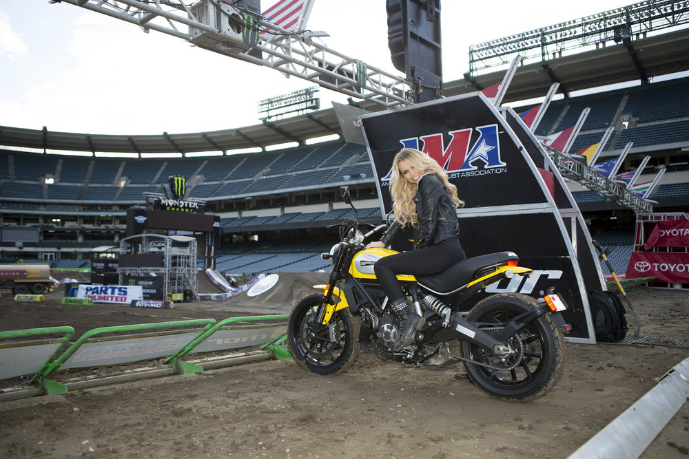 Leticia Cline on the Ducati Scrambler at Anaheim Supercross