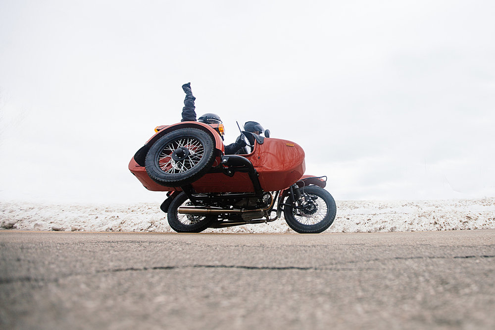 Leticia Cline for Iron and Air on a Ural Motorcycle