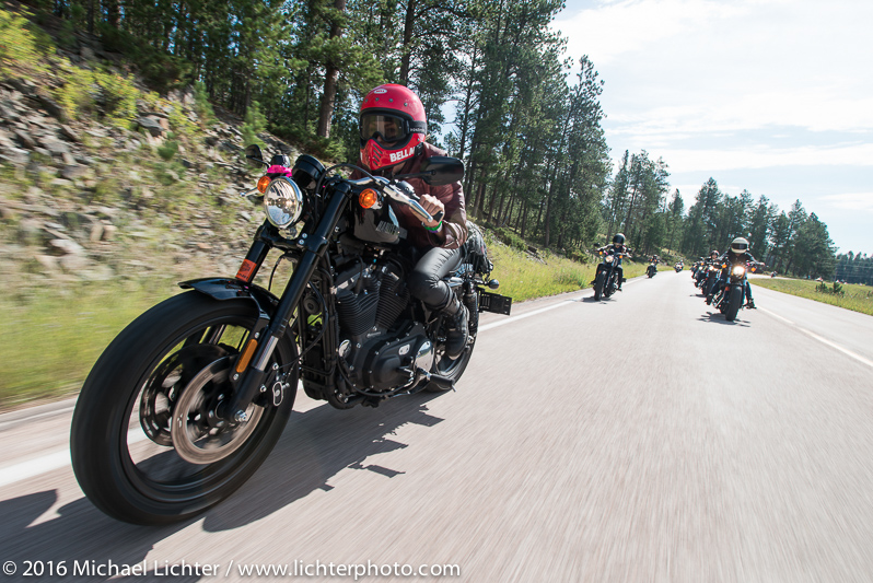 Leticia Cline on the Harley Davidson Roadster at Sturgis Rally. Shot by Michael Lichter