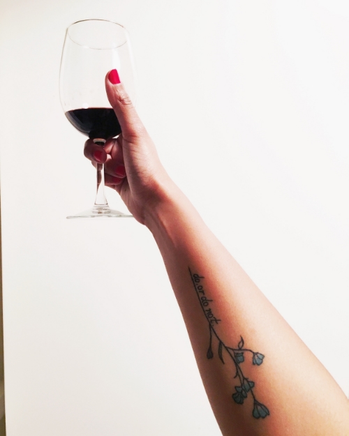 i call this: me, my tattoo, and the glory of wine.