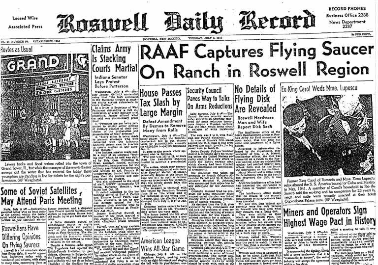 The Roswell Daily Record announced the capture of a flying saucer on July 8, 1947