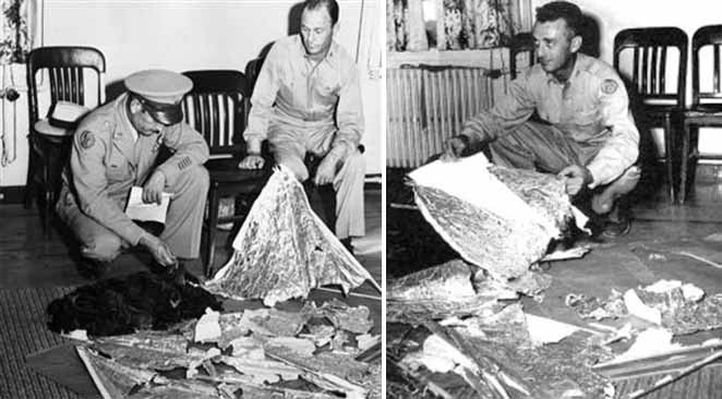 These photos from July 9, 1947, show Brig. Gen. Roger M. Ramey, commanding general of 8th Air Force, and Col. Thomas J. Dubose, 8th Air Force chief of staff, identifying the debris found near Roswell as pieces from a weather balloon