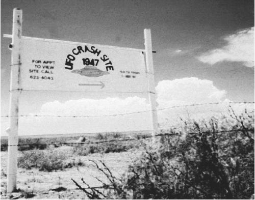 An old sign out in the fields near Roswell, New Mexico