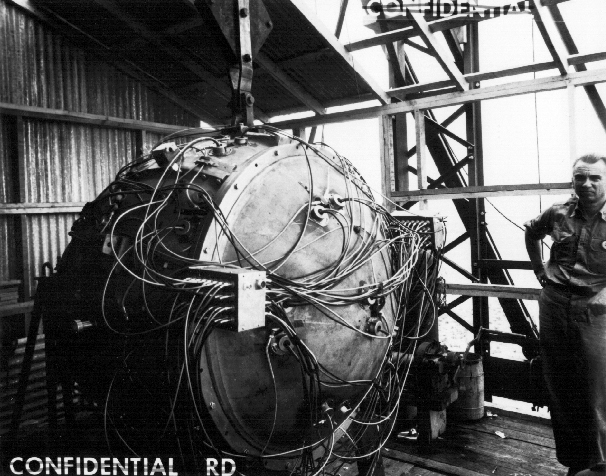 The Trinity gadget during preparations for the test