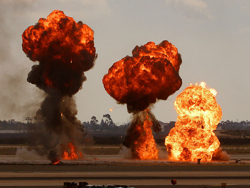 Conventional explosions look like fireballs because they are; here gasoline reacts chemically with the air in a scaled-up version of what happens in your engine whenever you press the gas pedal
